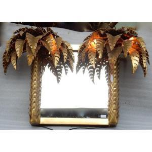 1970 ′ Illuminating Palm Trees Mirror Original Piece By Barbier, Jansen, Fernandez, Faure 115x70cm