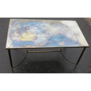 1970′ Table Basse En Bronze Avec Entretoise Maison Baguès Avec Plateau Miroir Vieilli Oxydé
