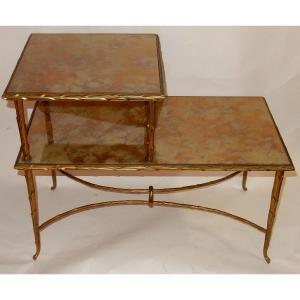 1970′ Table à Étage En Bronze Doré Décor Palmier Maison Charles 72 X 38 Cm