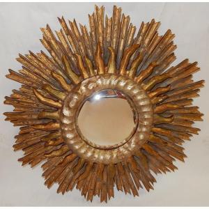 1950 ′ Convex Sun Mirror 2 Levels Golden And Silver Wood 63 Cm In Diameter