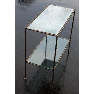 1970 ′ End Of Sofa In Bronze Maison Baguès Oxidized Mirrored Trays 65x31x H59 Cm