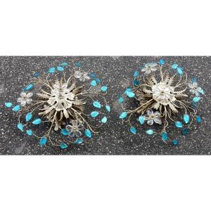 1970 ′ Pair Of Wall Lights In Silver Metal And Flowers In Blue Glass Style Maison Baguès
