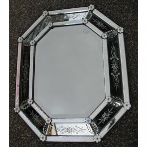 1950 ′ Venetian Octagonal Mirror 73 X 89 Cm