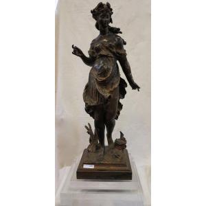 1890′ Statue Bronze Femme Signée Moreau