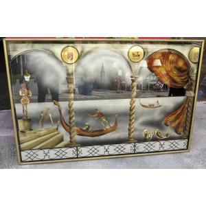 "1950 ′ Eglomise Panel ""gondola Ride For The Venice Carnival"""