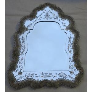 1950/70 ′ Veronese Escutcheon Mirror With Beveled Mirror In The Center