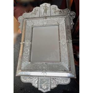 1970 ′ Venice Mirror In The Antique With Decor Of Characters Symbolizing Justice Signed: Himberger