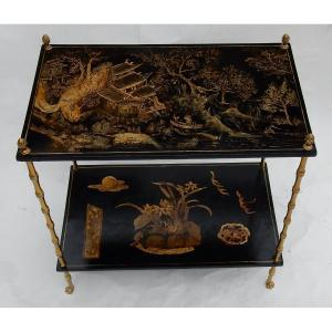 1950 ′ Maison Baguès Decor Bamboo Table In Gilt Bronze With Chinese Lacquer Trays 60 X 36 H 63