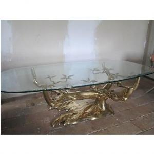 1970 'bonzaï Coffee Table On Sand Dune In Gilt Bronze Willy Daro Or Duval Brasseur