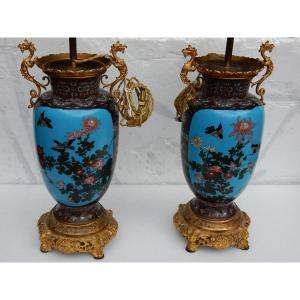 1890′ Paire De Lampes Cloisonnées Japon Aux Oiseaux Et Dragons