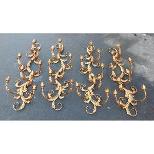 1970 ′ 2 Pairs Of Golden Iron Appliques Flowers And Foliage At 8 Bulbs