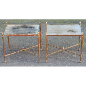 1950/70 ′ Pair Of Bronze Sofa Ends Oxidized Mirrored Trays Maison Baguès Style 41x32 Cm