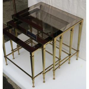1950/70 'series Of 3 Nesting Tables Conical Uprights Gilt Bronze Smoked Glass Trays