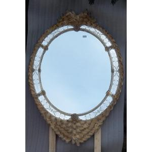 1970/80 ′ Veronese Murano Crystal Mirror With Gold Leaf Inclusions 135 Hx 96 Cm