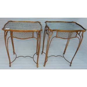 1950 ′ Pair Of Side Tables Maison Baguès Wrought Iron Gilded With Gold Oxidized Mirror Trays Vi