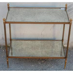 1950/70 ′ End Of Sofa Maison Baguès Brass And Bronze Trays Aged Oxidized Mirror And Flower