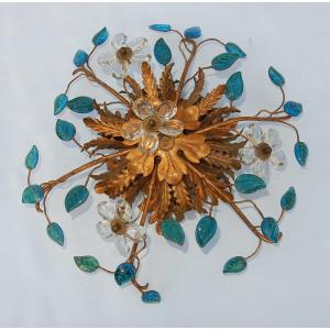 1970 ′ Applique Decor Flowers And Leaves In Golden Metal And Blue Glass Maison Baguès Or Banci