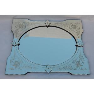 1950/70 ′ Miroir Vénitien à Cartouches, Ovale Biseauté 76 X 60 Cm