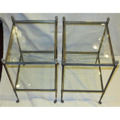 Paire D étageres Ou Bouts De Canapés En Bronze ,2 Plateaux,avec Galerie Maison Bagués