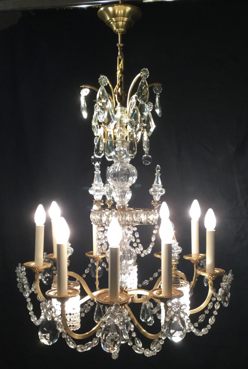 Lustre à 12 Lumières en bronze et cristal