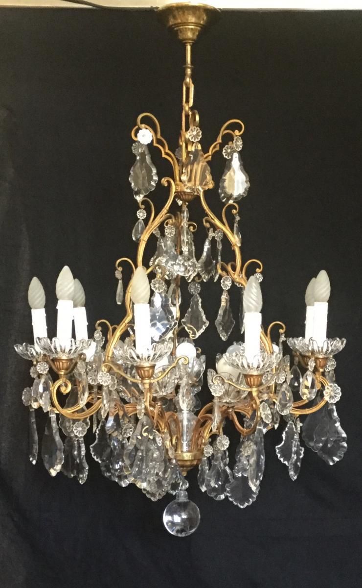 Lustre Cage Bronze Et Cristal 16 Lumières