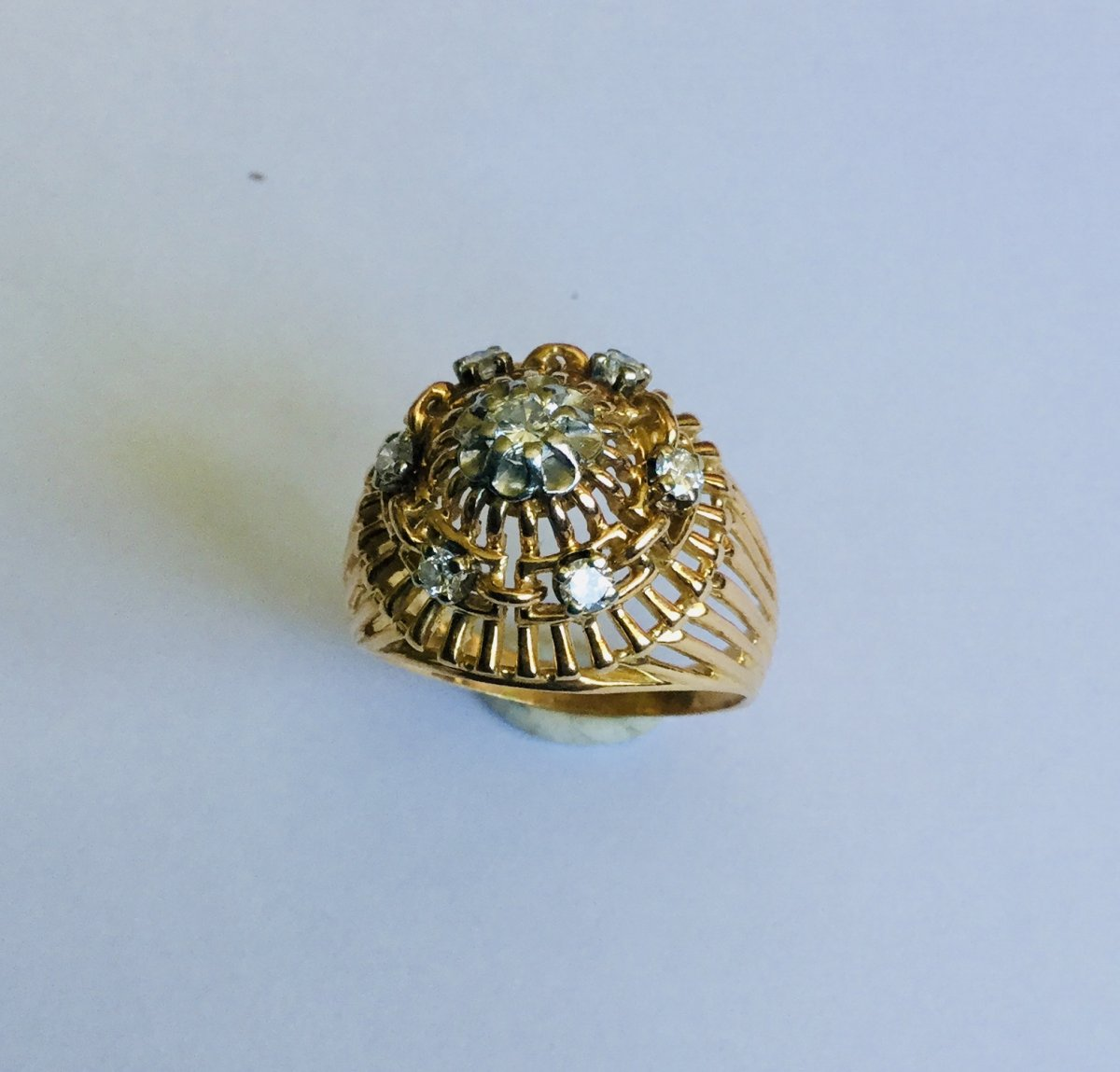 Openwork Ring In Rose Gold And Diamonds