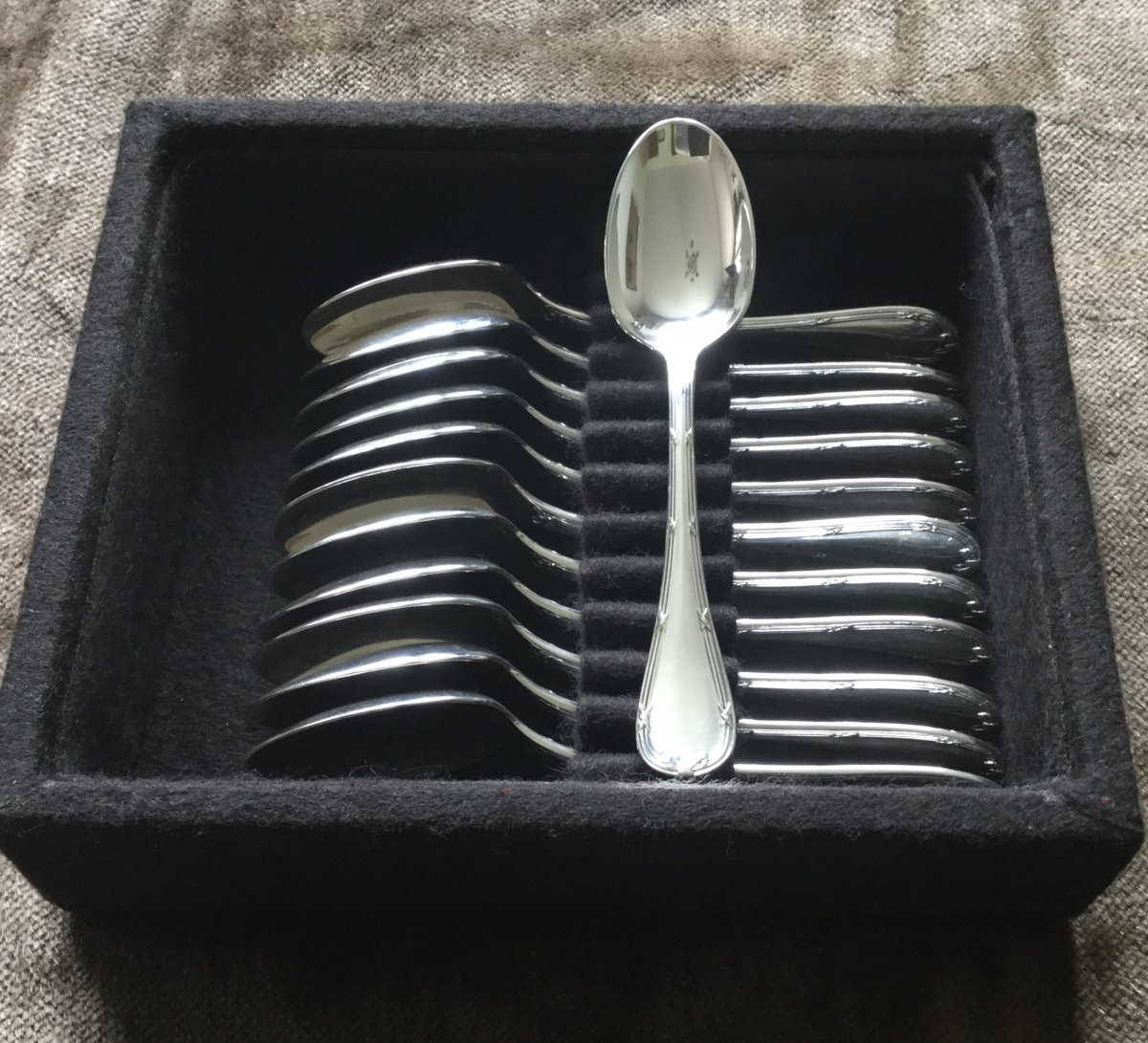 12 Christofle Crossed Ribbon Mocha Spoons