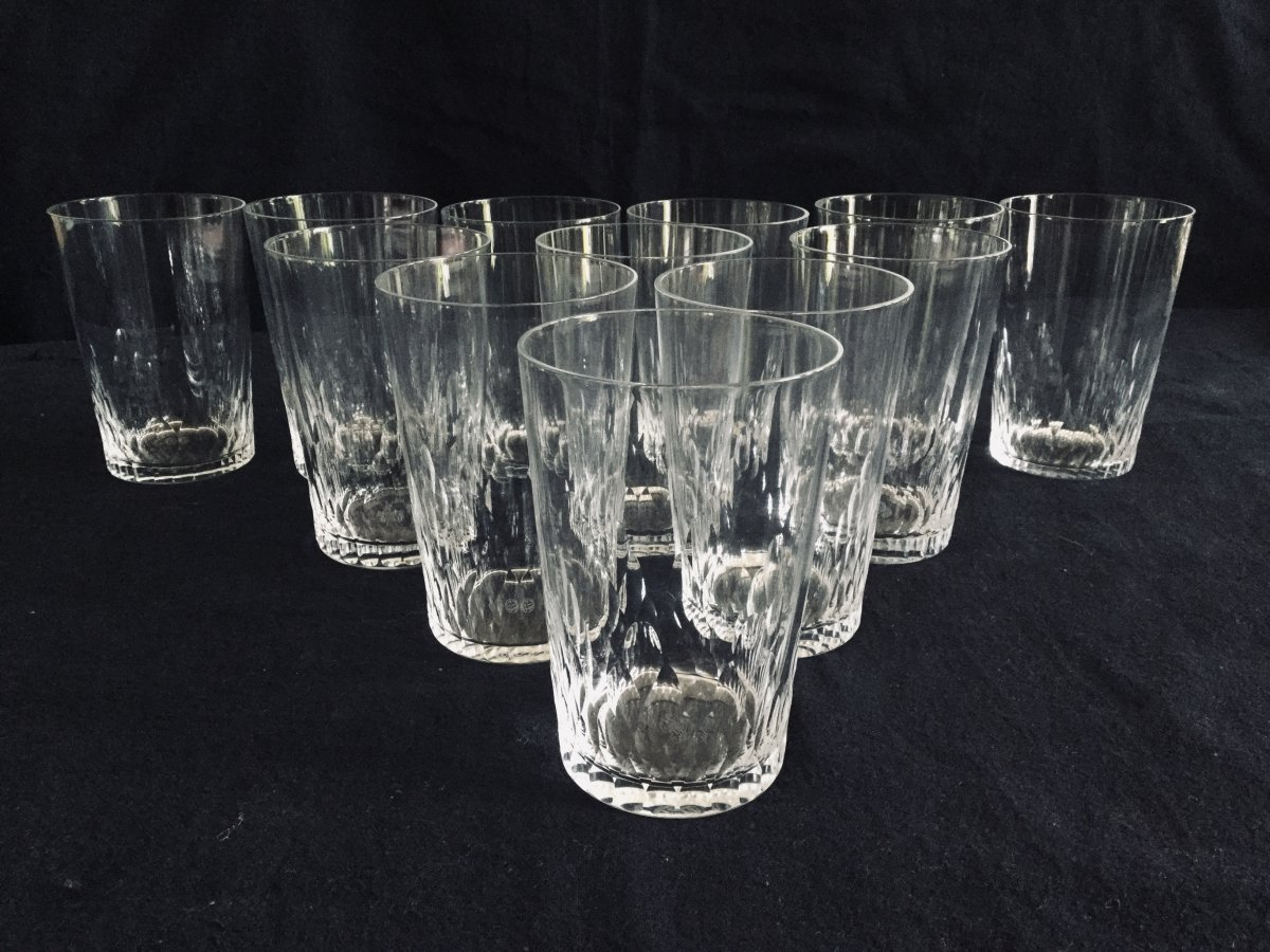 12 Baccarat Crystal Whiskey Glasses Champigny Model