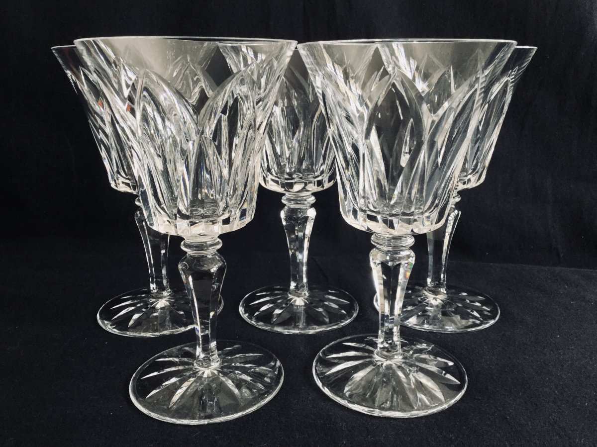 5 Crystal Water Glasses From Saint-louis Model Camargue