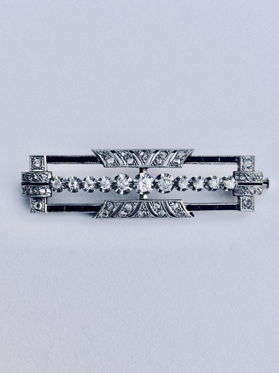 Broche Art Déco En Or, Platine, Diamants Et Saphirs