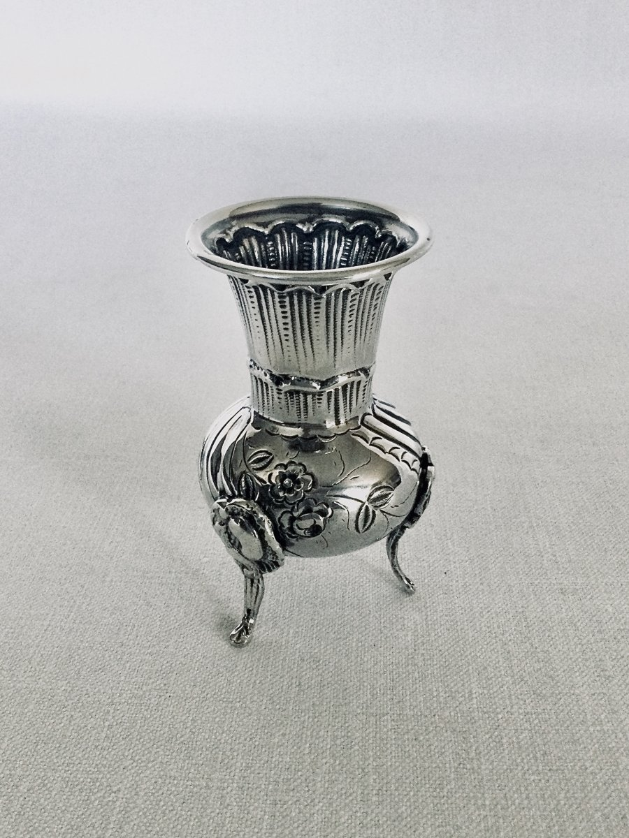 Vase Tripode Soliflore En Argent -photo-2