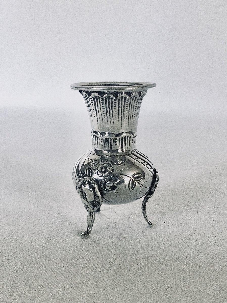 Vase Tripode Soliflore En Argent