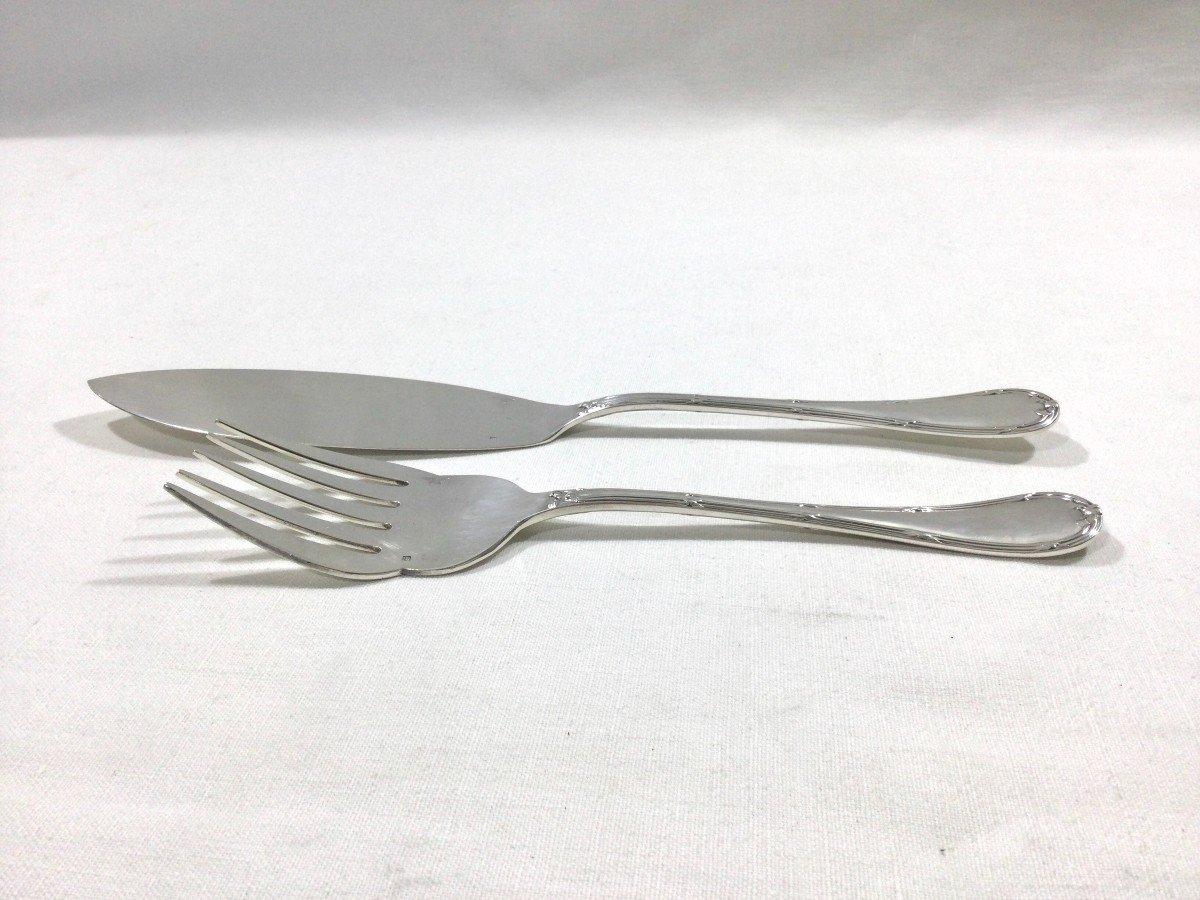 Christofle - Fish Service Cutlery Cross Ribbon Model-photo-5
