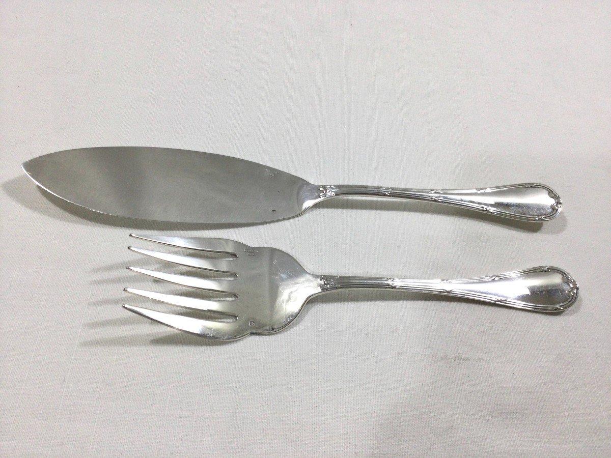 Christofle - Fish Service Cutlery Cross Ribbon Model-photo-6