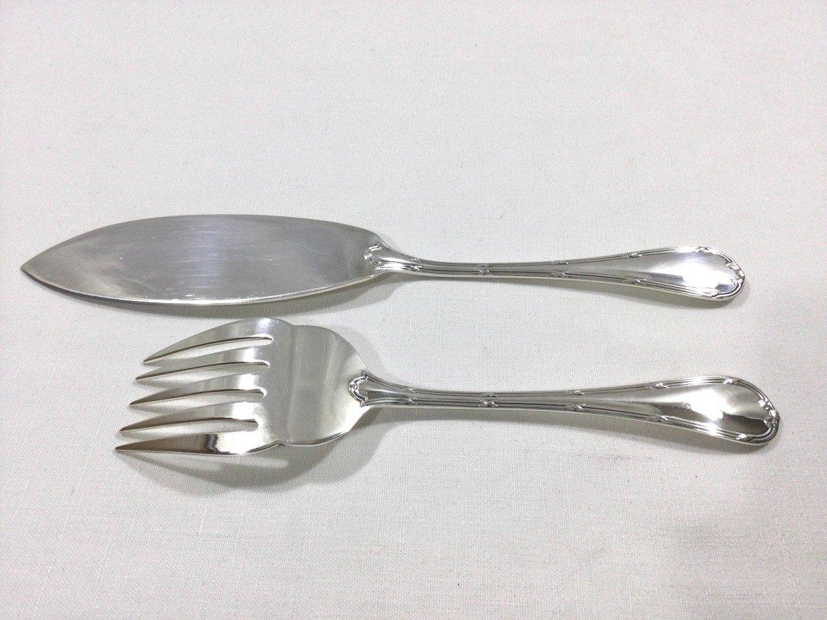 Christofle - Fish Service Cutlery Cross Ribbon Model-photo-7