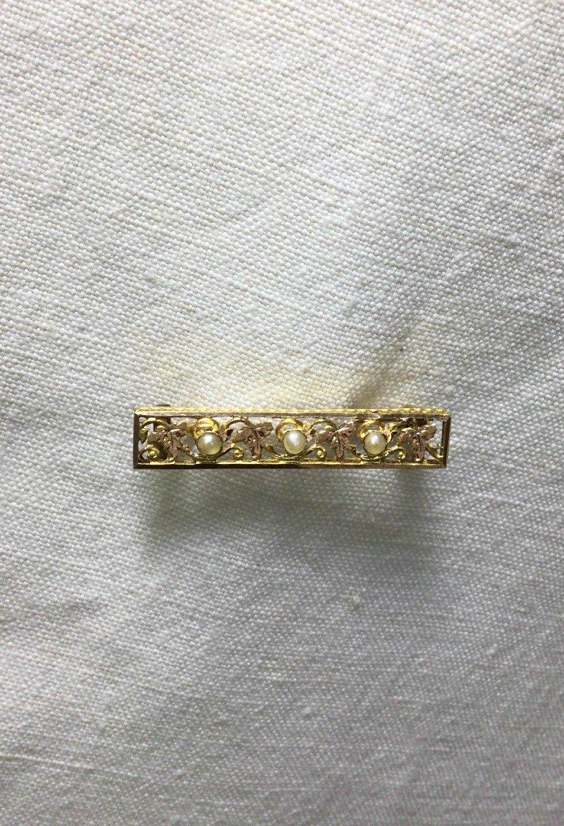 Broche Art Nouveau En Or Et Perles-photo-4