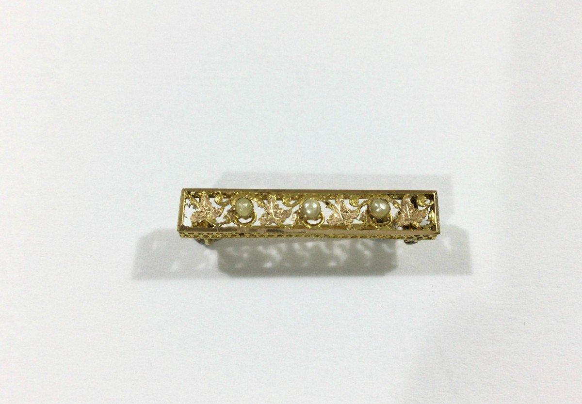 Broche Art Nouveau En Or Et Perles