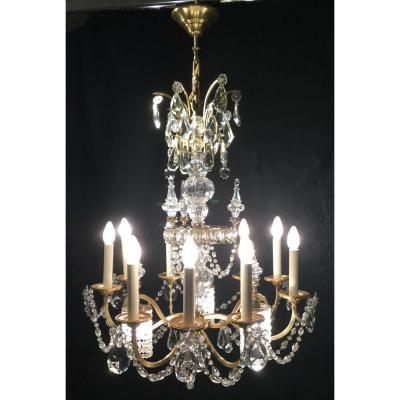 Chandelier In Bronze And Crystal 12 Lights