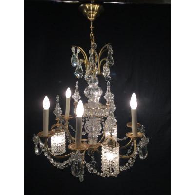 Lustre En Bronze Et Cristal à 9 Lumières