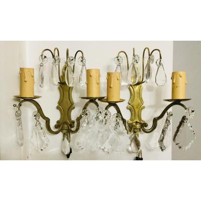 Paire D'appliques Bronze Et Pampilles Cristal 2 Lumières