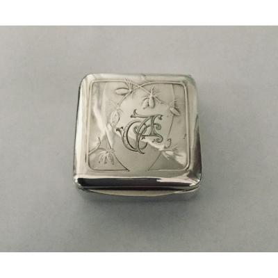 Art Nouveau Pill Box In Silver And Vermeil