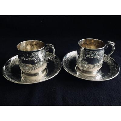 H And H - Pair Of Lunch In Silver And Vermeil