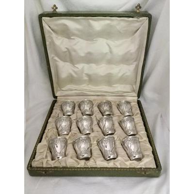 Henri Soufflot - 12 Liquor Cups In Silver And Vermeil