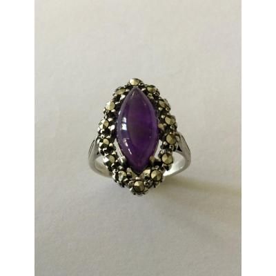 Silver Ring, Amethyst, Quartz And Marcasites