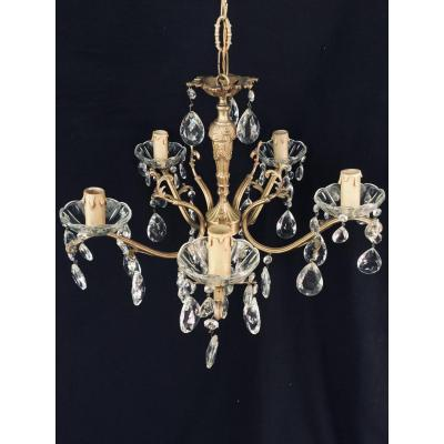 5-light Crystal, Bronze And Brass Chandelier