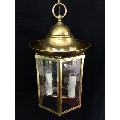 Lanterne à 2 Lumières en Bronze et Laiton