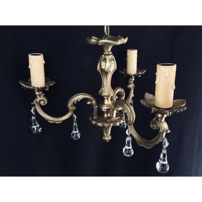 Lustre à 3 Lumières En Cristal Et Bronze