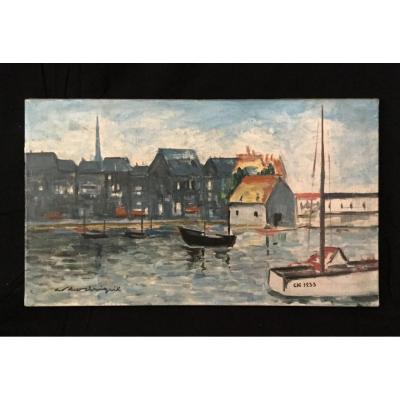 Robert Rodrigue - Oil On Canvas «le Vieux Bassin D'honfleur»