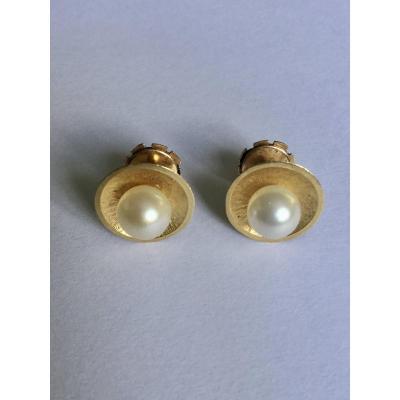 Paire De Boucles D'oreilles Or Et Perles