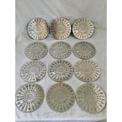 Set Of 12 Christofle Farmer General Coasters